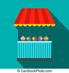 Tent with ice cream flat icon on a blue background