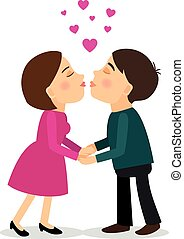 Kissing couple vector illustration - Kissing couple. Young...
