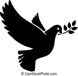 Flying dove with olive twig icon