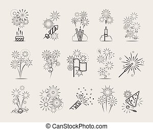 Pyrotechnic line icons. Fireworks and celebration thin line...