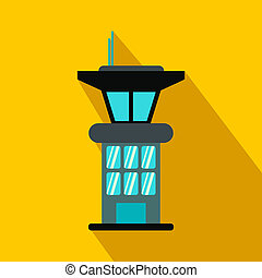 Airport control tower flat icon