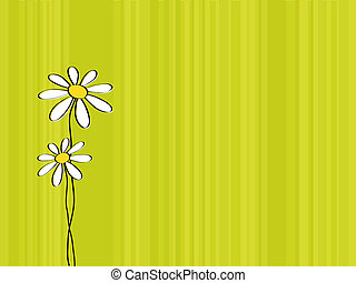greeting card with stripes and marguerites