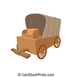 Western covered wagon cartoon icon