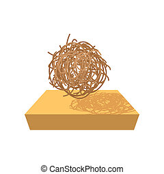 Tumbleweed cartoon icon on a white background