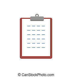 Clipboard flat icon isolated on white background