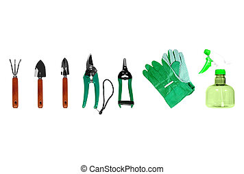 Gardening Tools - Set of gardening tools isolated over white...