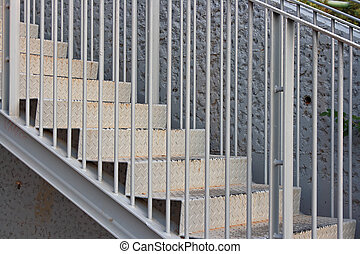 The steel stairs - The closeup of steel stairs