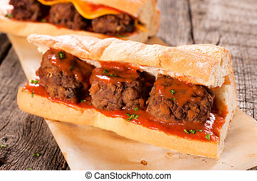 Meat balls in bread - Meat balls and homemade tomato sauce...