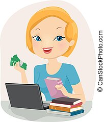 Girl Sell Used Books Online