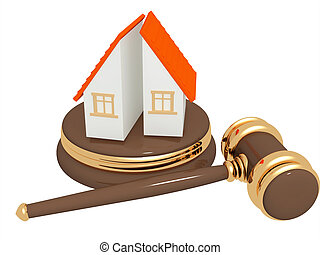 Division of property at divorce - Conceptual image -...