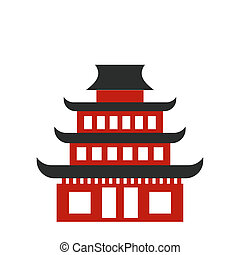 Pagoda flat icon Buddhist temple isolated on white...