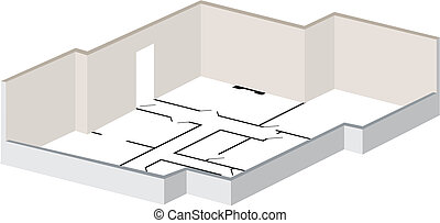 3d floorplan with exterior walls and layout marked as...