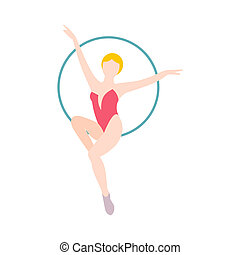 Woman trapeze artist flat icon isolated on white background