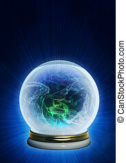 Magic ball. Vertical background of blue color