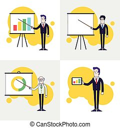 Modern businessmen set Flipchart with colored bar chart, pie...