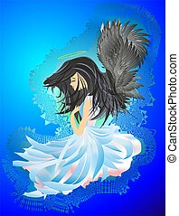 Angel with black hair, - composition of a girl angel in blue...