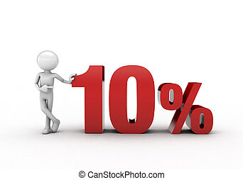 3D character with 10% discount sign