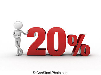 3D character with 20% discount sign