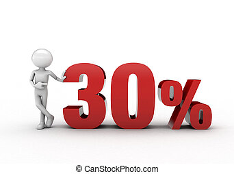 3D character with 30% discount sign