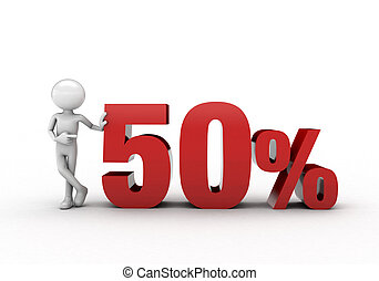 3D character with 50% discount sign