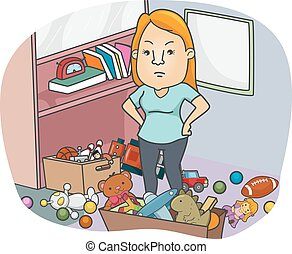Annoyed Girl Toys Clutter - Illustration of a Girl Annoyed...