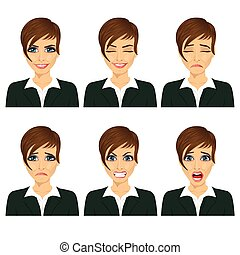 Young business woman with different facial expressions...