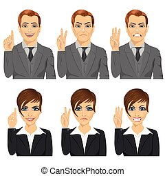 business man and woman counting numbers from one to three with their fingers with different facial expressions