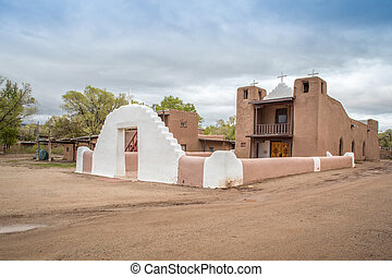 Church in Native Americans' Taos Pueblo, New Mexico, USA
