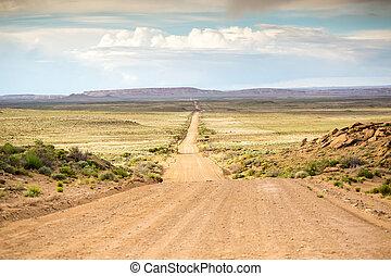 directement,  long, route, Terre