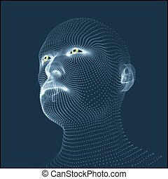 Head of the Person from a 3d Grid. Human Head Model - Head...