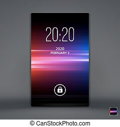 Modern Lock Screen for Mobile Apps Mobile Wallpaper Vector...