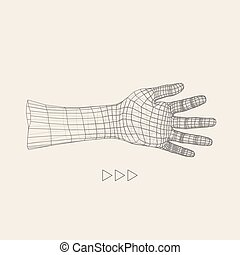 Human Arm Human Hand Model Hand Scanning View of Human Hand...