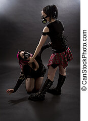 Slave and mistress - crazy looking teenage girls wearing...