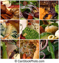 Colours of Food - A food collage comprising an assortment of...