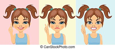 little girl counting numbers from one to three with her fingers with different facial expressions
