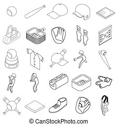 Baseball icons set, isometric 3d style - Baseball icons set...
