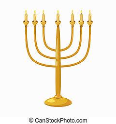 Menorah icon, cartoon style - Jewish Menorah with candles...
