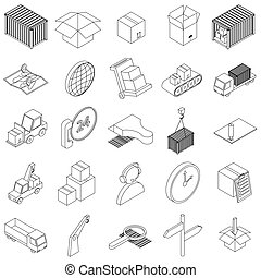 Logistics icons set, isometric 3d style - Logistics icons...