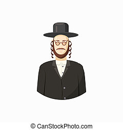 Jew man icon, cartoon style - Avatar of Jew man with...