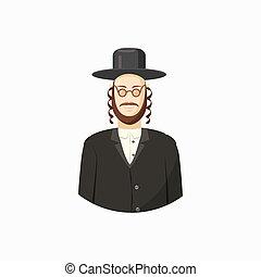 Jew man icon, cartoon style - Avatar of Jew man with...