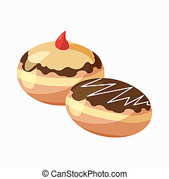 Hanukkah doughnut icon, cartoon style - Two hanukkah...
