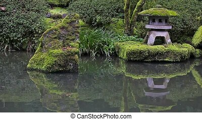 Japanese Garden pond reflection hd - High definition movie...