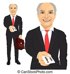 senior businessman with briefcase giving business card