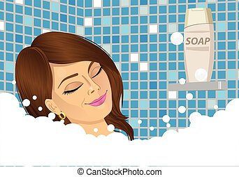young woman taking a foam bath with eyes closed