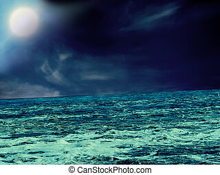 Storm at sea - Moonlit Night. Storm at sea. Abstract...