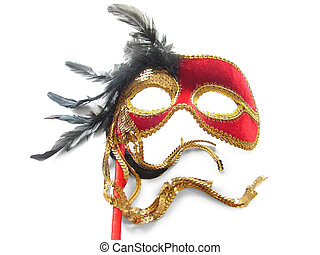 Carnival mask - Red Carnival Mask with black feathers...