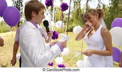 Bride and groom on Wedding Ceremony at nature