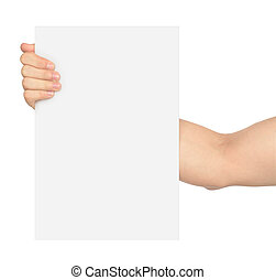 Hand holding blank card isolated on white
