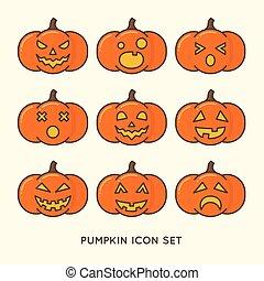 halloween pumpkins - Line icon of halloween pumpkins.