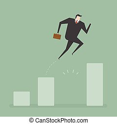 Business concept - Businessman Jump Through The Gap In...